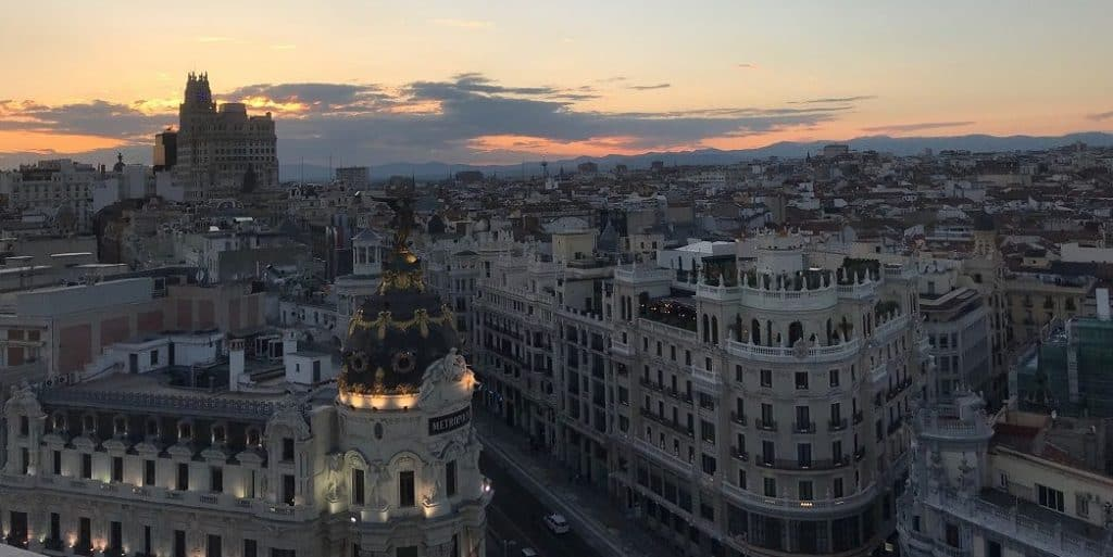 sunset in Madrid rooftop