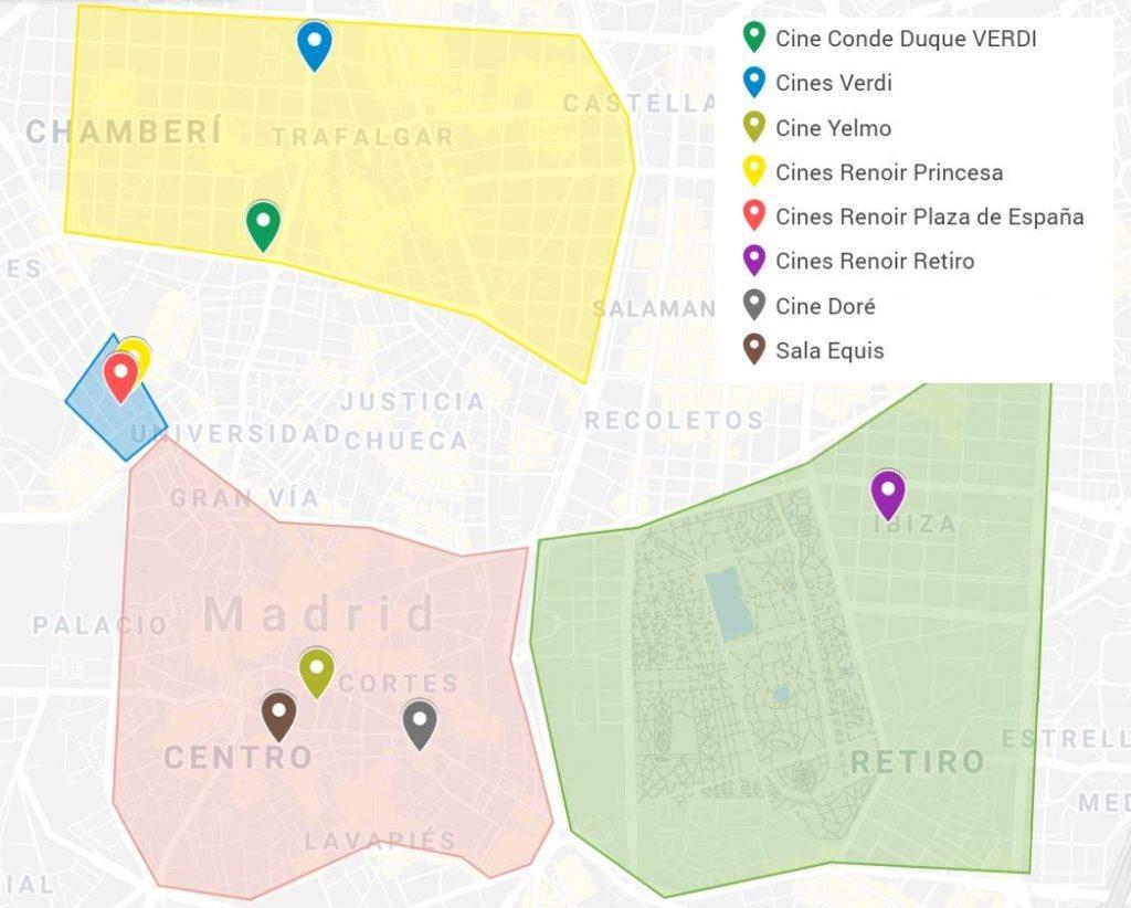 Map english movie theaters Madrid