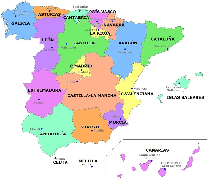 Regions in Spain Map