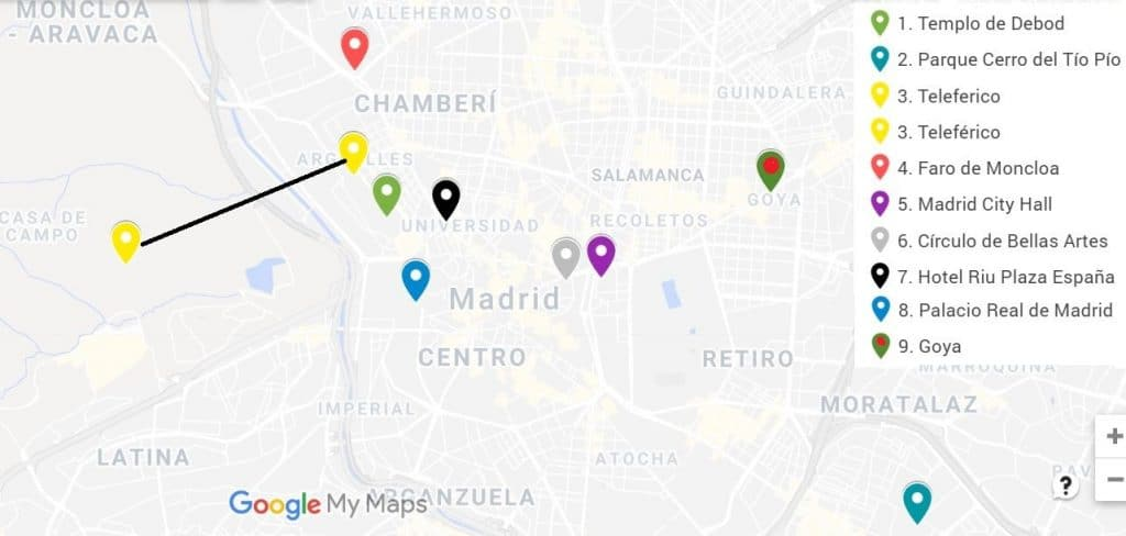 Map best sunset places Madrid