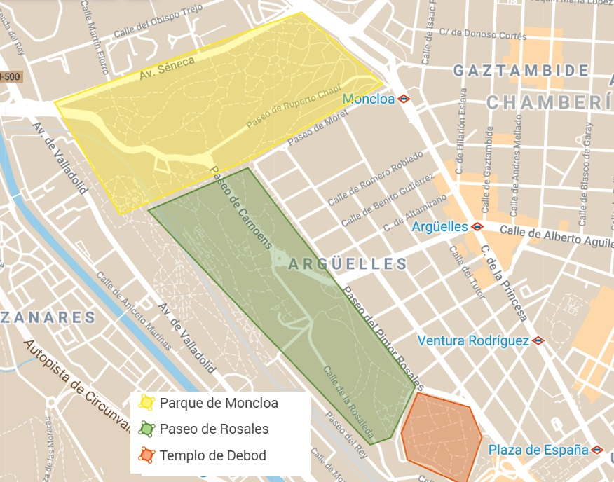 Parks in Madrid Map