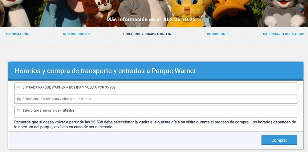 Buy tickets bus amusement park Madrid